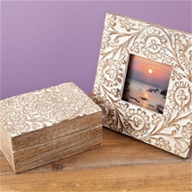 Hand Carved Trinket Box + Photo Frame
