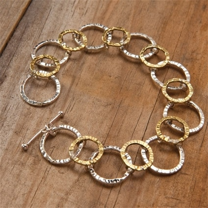 Hammered Silver and Brass Bracelet